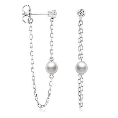 Mikimoto Akoya Cultured Pearl & Diamond Drop Earrings 18K