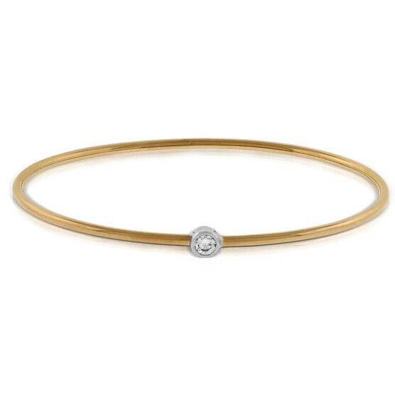 Rose & White Gold Diamond Bangle Bracelet 18K