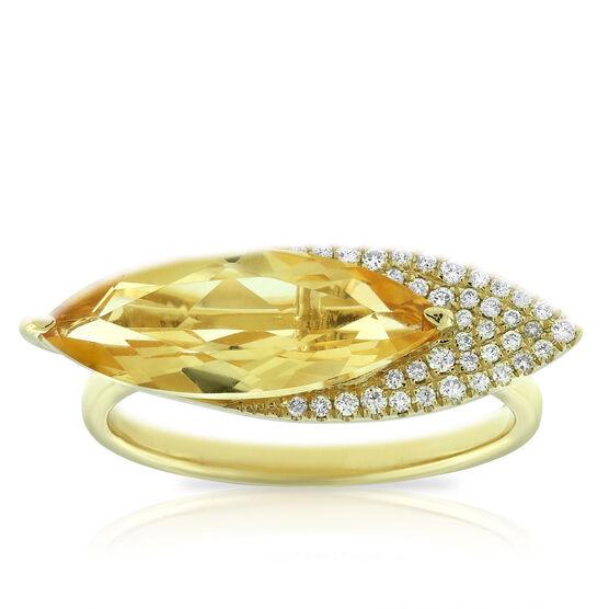 Marquise Citrine & Diamond Ring 14K