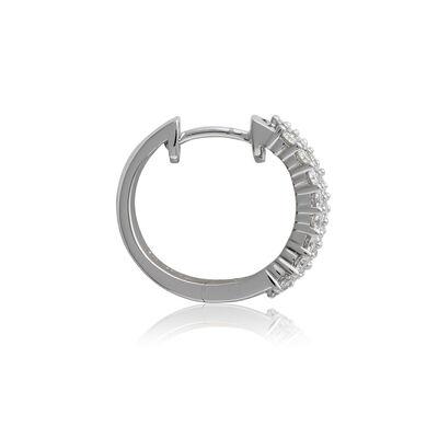 3-Row Diamond Huggie Hoop Earrings 14K, 1ctw.