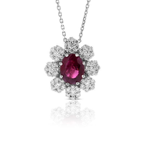 Ruby & Diamond Halo Necklace 14K
