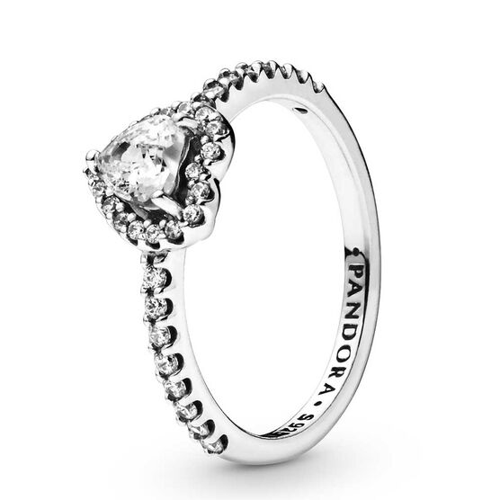 Pandora Elevated Heart CZ Ring
