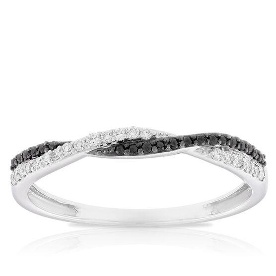 Black & White Diamond Braid Band 14K