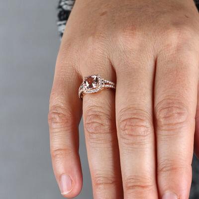Rose Gold Morganite & Diamond Split Shank Ring 14K