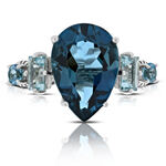Mixed Color Blue Topaz Ring 14K