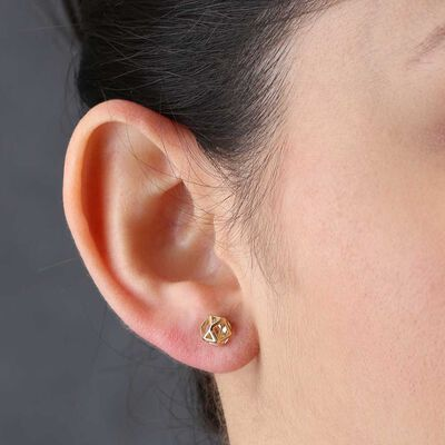 Geometric Stud Earrings 14K