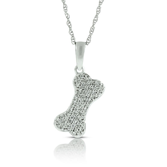 Diamond Dog Bone Pendant 14K