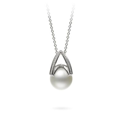 Mikimoto M Collection Cultured White South Sea Pearl & Diamond Necklace 18K