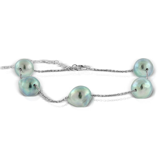 Gray Cultured Akoya Pearl Tin Cup Bracelet 14K