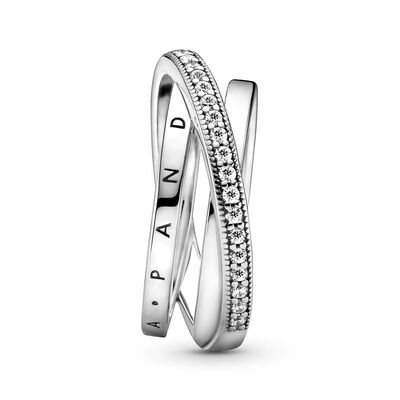 Pandora Crossover Pavé CZ Triple Band Ring