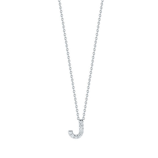 Roberto Coin Tiny Treasures Diamond Initial Pendant 18K Letter 'J'