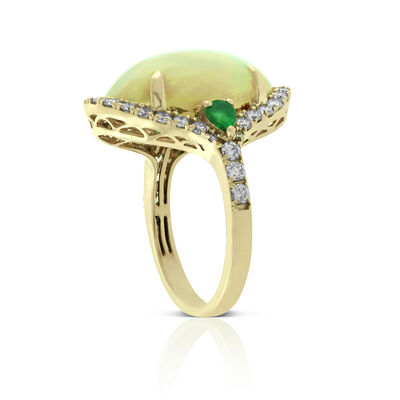 Opal, Emerald & Diamond Ring 14K