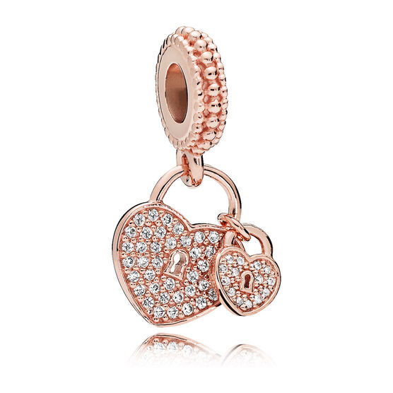 Pandora Pavé CZ Heart Padlocks Dangle Charm