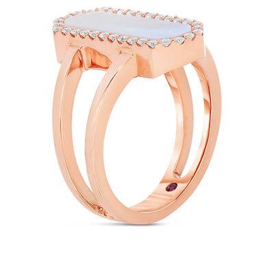 Rose Gold Roberto Coin Art Deco Gemstone & Diamond Ring 18K