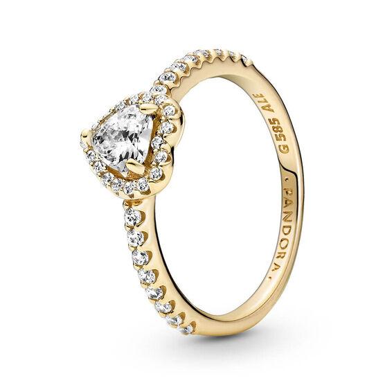 Pandora Elevated Heart CZ Ring 14K