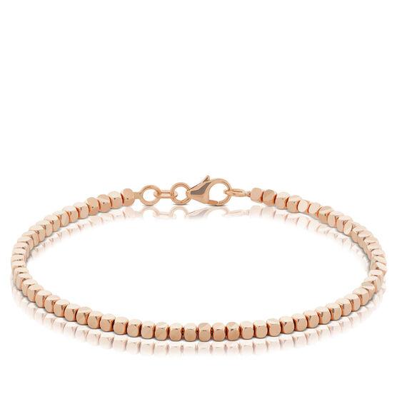 Rose Gold Adjustable Diamond Cut Bead Bracelet 14K