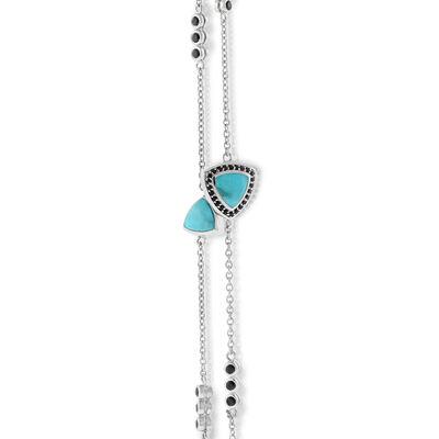 "Lisa Bridge Turquoise & Black Sapphire Necklace, 36"""