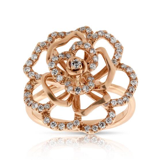 Rose Gold Diamond Floral Ring 14K