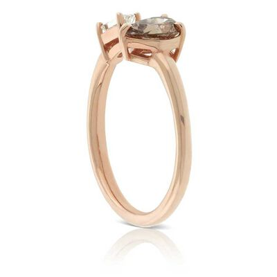 Rose Gold Fancy Shape Brown & White Diamond Open Shank Ring 14K