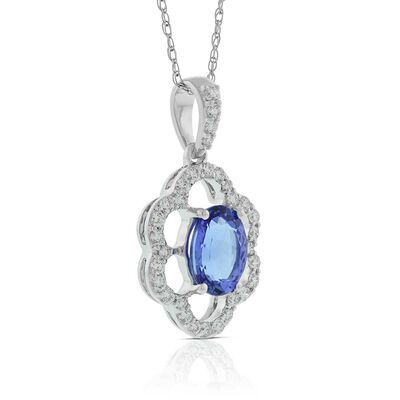 Tanzanite & Diamond Fluted Halo Necklace 14K