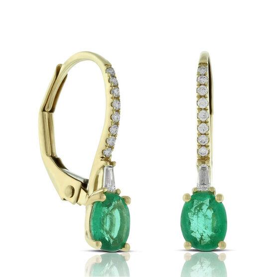 Oval Emerald & Diamond Drop Earrings 14K