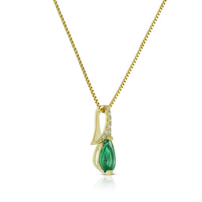 Pear-Shaped Emerald & Diamond Necklace 14K