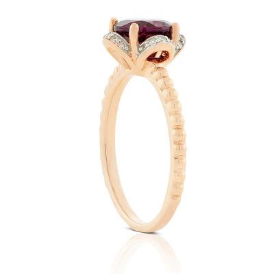 Rose Gold Purple Garnet & Diamond Flower Ring 14K