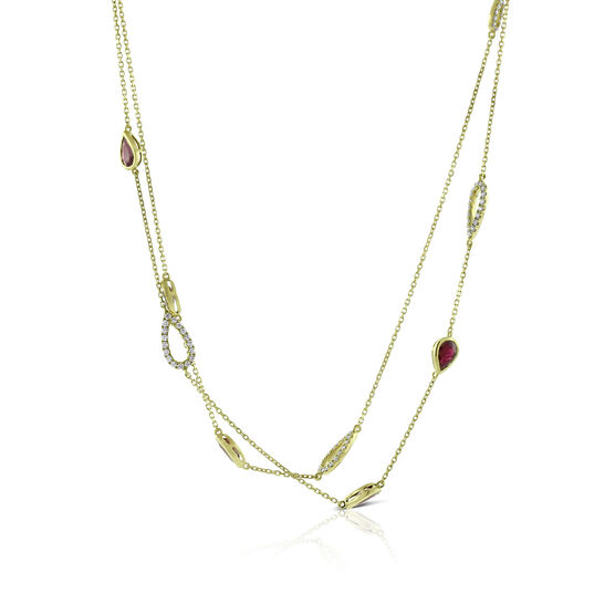 Ruby & Diamond Pear Station Necklace 14K, 32""