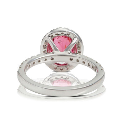 Oval Pink Spinel & Diamond Ring 14K