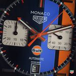 TAG Heuer Monaco Gulf Calibre 11 Automatic Mens Blue Leather Chronograph Watch