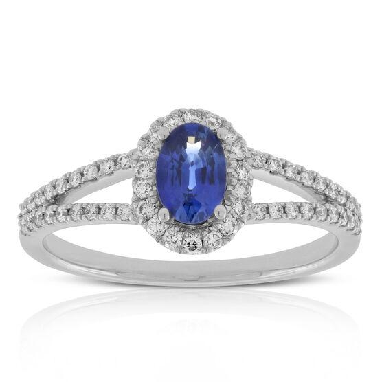 Sapphire & Diamond Split Shank Ring 14K