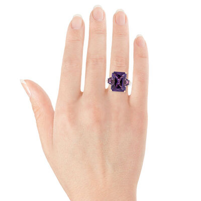 Rose Gold Radiant Amethyst Ring 14K