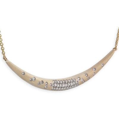 Diamond Crescent Necklace 14K