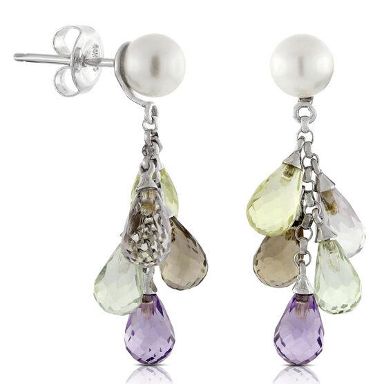 Freshwater Cultured Pearl & Gemstone Earrings 14K