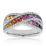 Rainbow Sapphire & Diamond Criss Cross Ring 14K