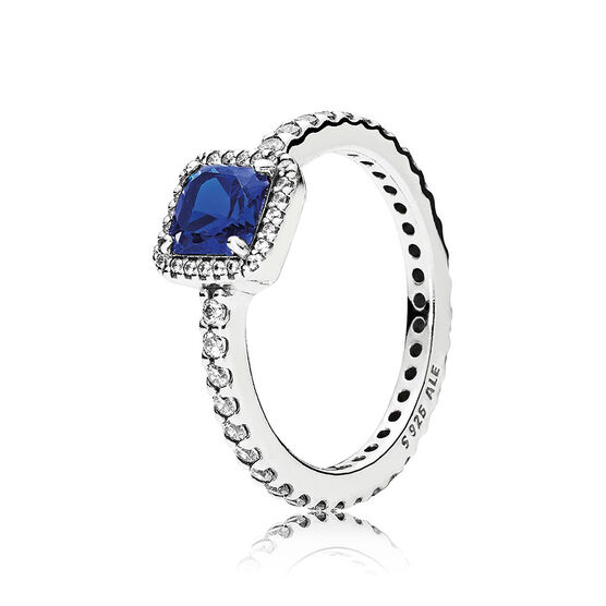 PANDORA Timeless Elegance Blue Gem & CZ  Ring