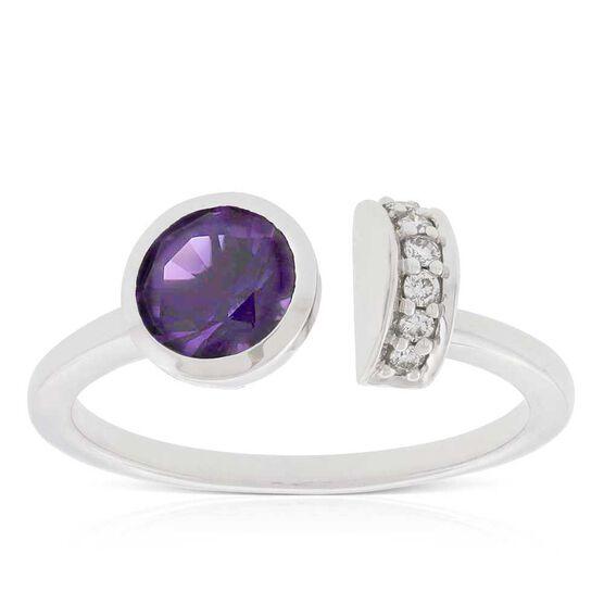 Amethyst & Diamond Open Shank Ring 14K