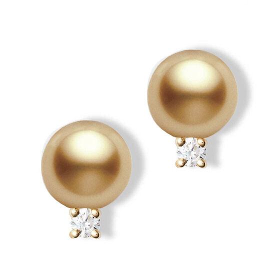 Mikimoto Golden South Sea Cultured Pearl & Diamond Earrings 18K