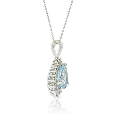 Pear Aquamarine & Diamond Halo Ring 14K