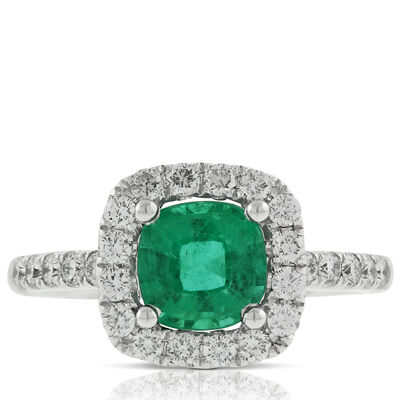 Cushion Emerald & Diamond Ring 14K