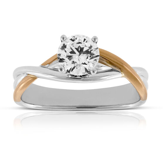 Rose & White Gold Twist Engagement Ring 14K