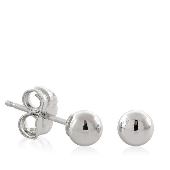 White Gold Ball Earrings 14K, 4mm
