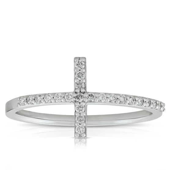 Cross Diamond Ring 14K