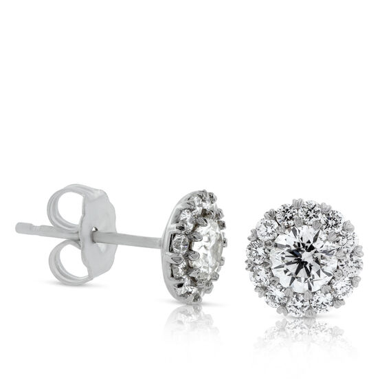 Diamond Halo Cupcake Earrings 14K, 1 ctw.