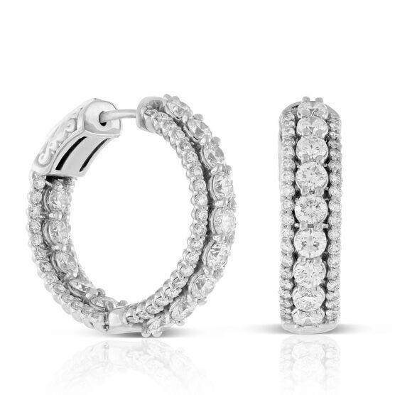 Three Row Diamond Hoop Earrings 14K, 4 ctw.