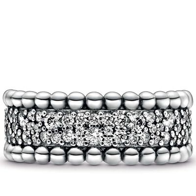Pandora Purely Pandora Beaded Pavé CZ Band Ring