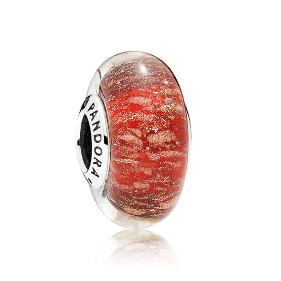 PANDORA Red Twinkle Glass Murano Charm