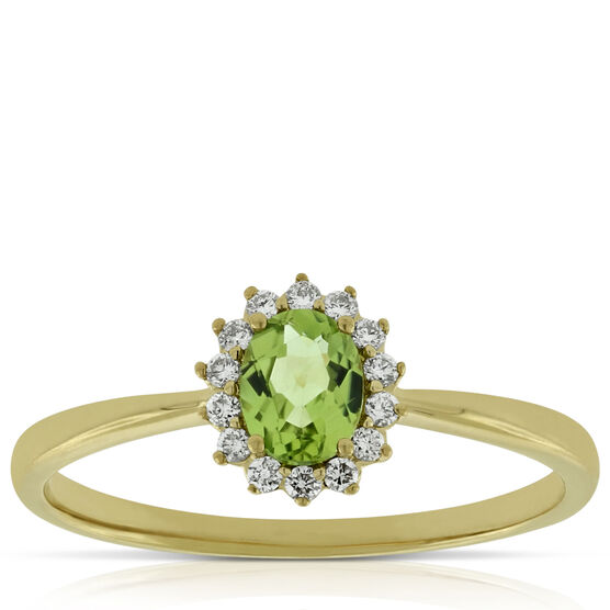 Peridot Halo Diamond Ring 14K