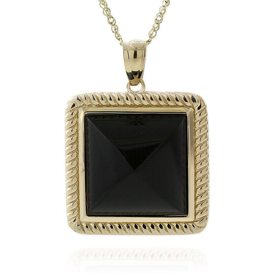 Black Onyx Pyramid Rope Bezel Set Pendant 14K