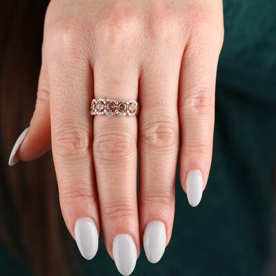 Rose Gold 5-Stone Morganite & Diamond Ring 14K
